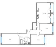 ЖК «Москвичка», планировка 3-комнатной квартиры, 87.00 м²