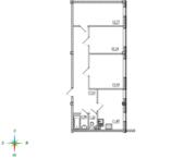 МЖК «Тихий город», планировка 3-комнатной квартиры, 68.46 м²
