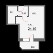 ЖК «Школьная, 21», планировка студии, 24.19 м²