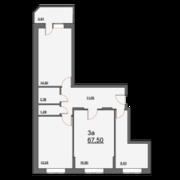 ЖК «Школьная, 21», планировка 3-комнатной квартиры, 67.50 м²