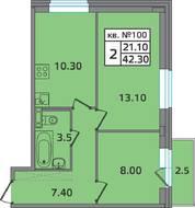 МЖК «ЭкспоГрад 2», планировка 2-комнатной квартиры, 42.30 м²