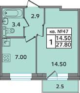 МЖК «ЭкспоГрад 2», планировка студии, 27.80 м²