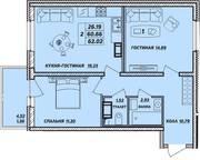 ЖК «Рыбацкая гавань», планировка 2-комнатной квартиры, 62.02 м²