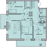 ЖК «Рыбацкая гавань», планировка 3-комнатной квартиры, 80.09 м²
