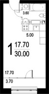 ЖК «Серебро», планировка студии, 30.00 м²