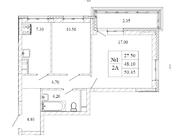 ЖК «Малаховский квартал», планировка 2-комнатной квартиры, 50.45 м²