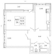 ЖК «Малаховский квартал», планировка 2-комнатной квартиры, 56.90 м²
