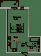 ЖК «Верхний», планировка студии, 29.40 м²