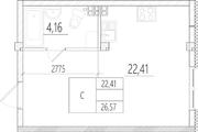 МЖК «Тихий город», планировка студии, 26.57 м²
