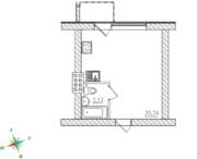 МЖК «Тихий город», планировка студии, 23.48 м²