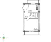 МЖК «Тихий город», планировка 1-комнатной квартиры, 35.31 м²