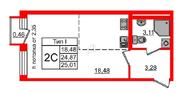МЖК «Фортеция. Жизнь на побережье», планировка студии, 24.87 м²