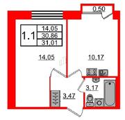 МЖК «Фортеция. Жизнь на побережье», планировка 1-комнатной квартиры, 30.86 м²