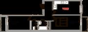 ЖК «Верхний», планировка 2-комнатной квартиры, 60.70 м²