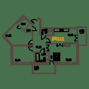 ЖК «Усадьба на Ланском», планировка 3-комнатной квартиры, 85.18 м²