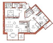 ЖК «LEGENDA Комендантского», планировка 3-комнатной квартиры, 103.80 м²