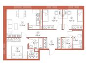 ЖК «LEGENDA Комендантского», планировка 3-комнатной квартиры, 79.51 м²