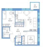 ЖК «LEGENDA Комендантского», планировка 2-комнатной квартиры, 55.01 м²