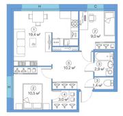 ЖК «LEGENDA Комендантского», планировка 2-комнатной квартиры, 56.39 м²