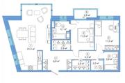 ЖК «LEGENDA Комендантского», планировка 2-комнатной квартиры, 82.88 м²