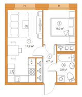 ЖК «LEGENDA Комендантского», планировка 1-комнатной квартиры, 34.69 м²