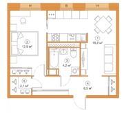 ЖК «LEGENDA Комендантского», планировка 1-комнатной квартиры, 45.88 м²