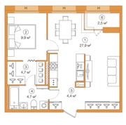 ЖК «LEGENDA Комендантского», планировка 1-комнатной квартиры, 51.13 м²