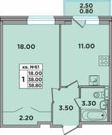 МЖК «ЭкспоГрад 3», планировка 1-комнатной квартиры, 38.80 м²