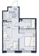 ЖК «Alter», планировка 1-комнатной квартиры, 40.87 м²