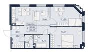 ЖК «Alter», планировка 2-комнатной квартиры, 66.29 м²