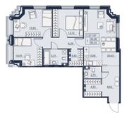 ЖК «Alter», планировка 3-комнатной квартиры, 93.35 м²