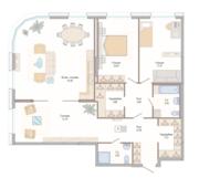 ЖК «Октавия», планировка 3-комнатной квартиры, 138.84 м²