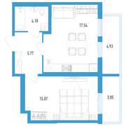 ЖК «Аэросити 2», планировка 1-комнатной квартиры, 45.98 м²
