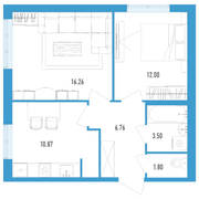 ЖК «Аэросити 2», планировка 2-комнатной квартиры, 51.19 м²