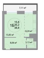 ЖК «28 микрорайон», планировка студии, 38.80 м²