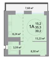 ЖК «28 микрорайон», планировка студии, 39.20 м²