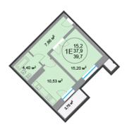 ЖК «28 микрорайон», планировка 1-комнатной квартиры, 39.70 м²