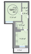 ЖК «28 микрорайон», планировка 1-комнатной квартиры, 43.10 м²