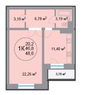 ЖК «28 микрорайон», планировка 1-комнатной квартиры, 48.60 м²