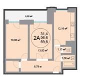 ЖК «28 микрорайон», планировка 2-комнатной квартиры, 59.80 м²
