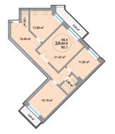 ЖК «28 микрорайон», планировка 3-комнатной квартиры, 90.10 м²