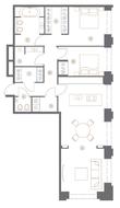 ЖК «Turgenev», планировка квартиры со свободной планировкой, 101.20 м²