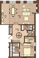 ЖК «Villa Grace», планировка 2-комнатной квартиры, 99.50 м²