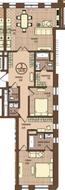 ЖК «Villa Grace», планировка 3-комнатной квартиры, 124.55 м²