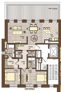ЖК «Villa Grace», планировка 3-комнатной квартиры, 134.50 м²