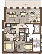 ЖК «Villa Grace», планировка 3-комнатной квартиры, 129.25 м²