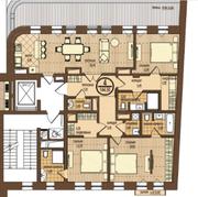ЖК «Villa Grace», планировка 4-комнатной квартиры, 144.50 м²