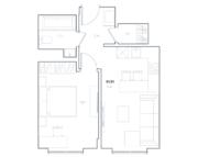 МФК «Residence Hall Шаболовский», планировка 1-комнатной квартиры, 41.91 м²