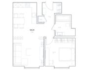 МФК «Residence Hall Шаболовский», планировка 1-комнатной квартиры, 54.34 м²