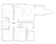 МФК «Residence Hall Шаболовский», планировка 3-комнатной квартиры, 88.64 м²